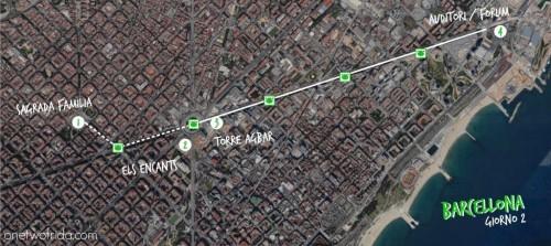 BARCELLONA mappa itinerario 3 giorni